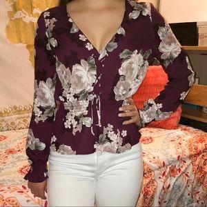 Guess Floral Lace-Up Blouse